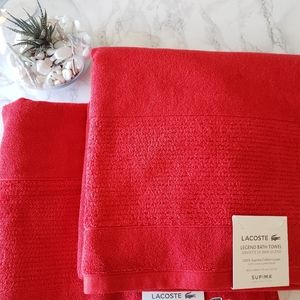 Red lacoste 2 extra long towels